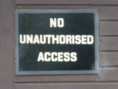 """No access sign to illustrate copywriting risks in business websites"""